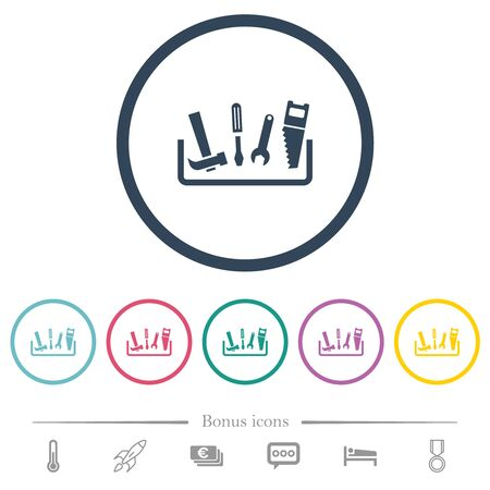 Toolbox flat color icons in round outlines. 6 bonus icons included. Illustration