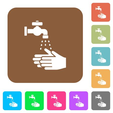 Hand washing flat icons on rounded square vivid color backgrounds. Stock Illustratie