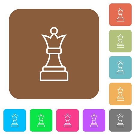 White chess queen flat icons on rounded square vivid color backgrounds. Illusztráció