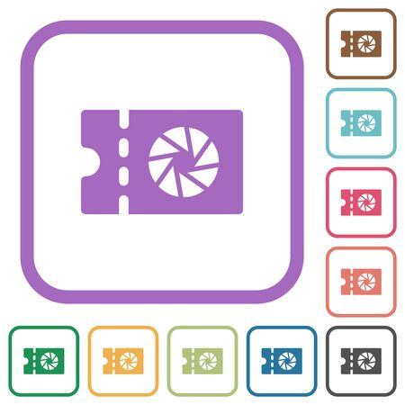 Photography shop discount coupon simple icons in color rounded square frames on white background Illusztráció
