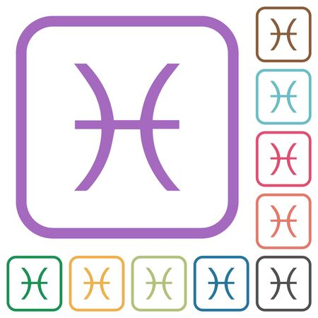 Pisces zodiac symbol simple icons in color rounded square frames on white background