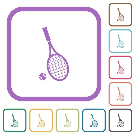 Tennis racket with ball simple icons in color rounded square frames on white background
