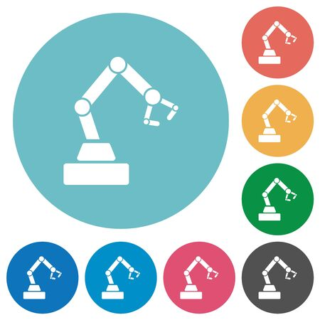 Robot arm flat white icons on round color backgrounds