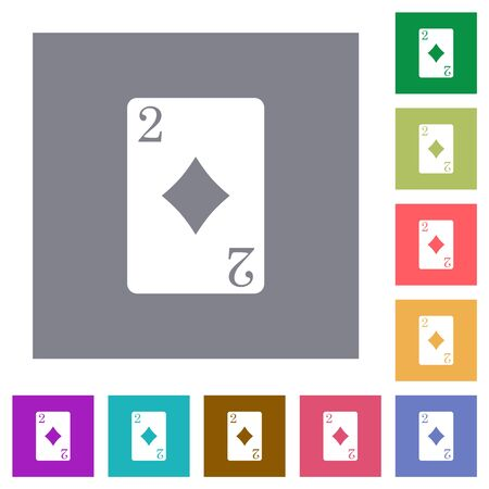 Two of diamonds card flat icons on simple color square backgrounds