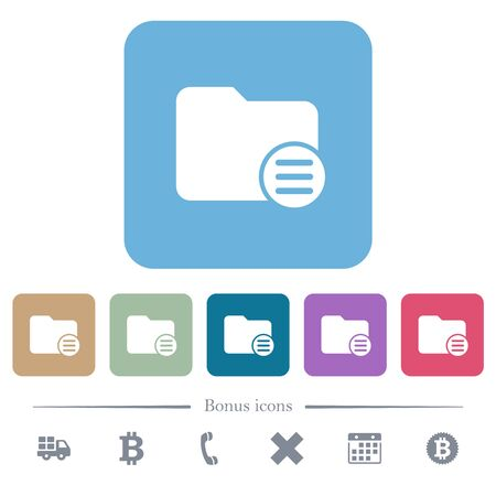 Directory options white flat icons on color rounded square backgrounds. 6 bonus icons included Stok Fotoğraf