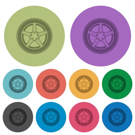 Car wheel darker flat icons on color round background Archivio Fotografico