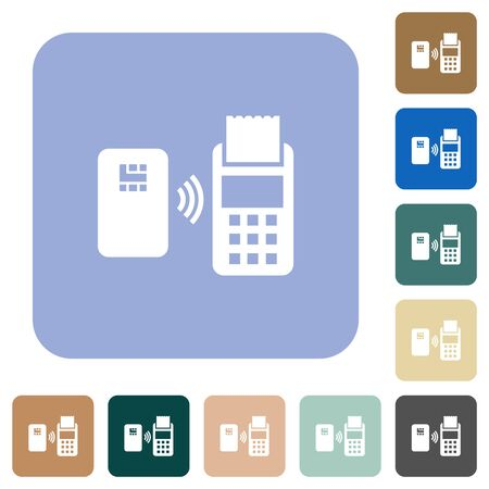 Contactless payment white flat icons on color rounded square backgrounds Stock fotó