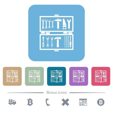 Open toolbox white flat icons on color rounded square backgrounds. 6 bonus icons included Stock fotó