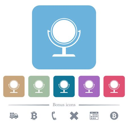 Desk mirror white flat icons on color rounded square backgrounds. 6 bonus icons included
