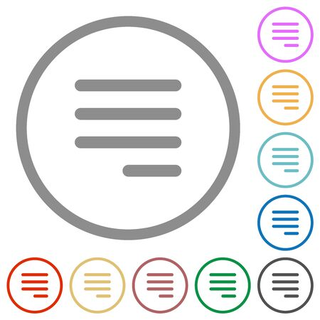 Text align justify last row right flat color icons in round outlines on white background