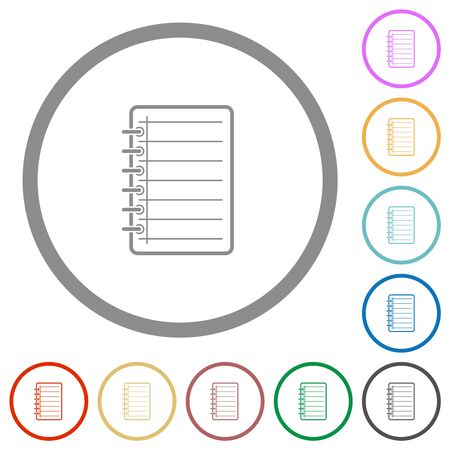 Notepad flat color icons in round outlines on white background
