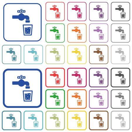 Drinking water color flat icons in rounded square frames. Thin and thick versions included. Banco de Imagens