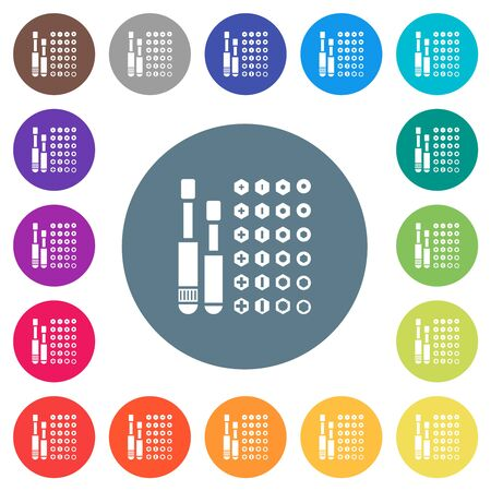 Set of screwdriver bits flat white icons on round color backgrounds. 17 background color variations are included. Stock fotó