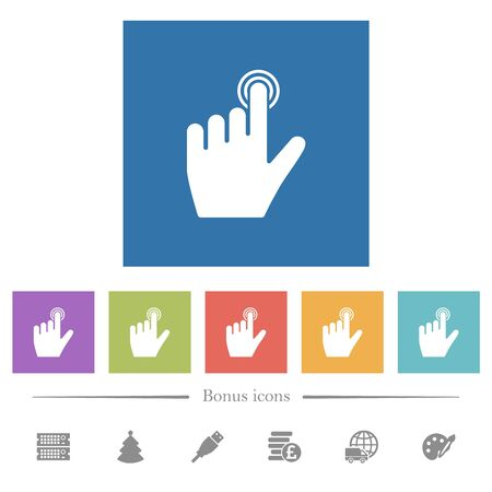 left handed clicking gesture flat white icons in square backgrounds. 6 bonus icons included.