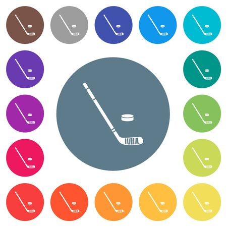 Hockey stick and puck flat white icons on round color backgrounds. 17 background color variations are included.