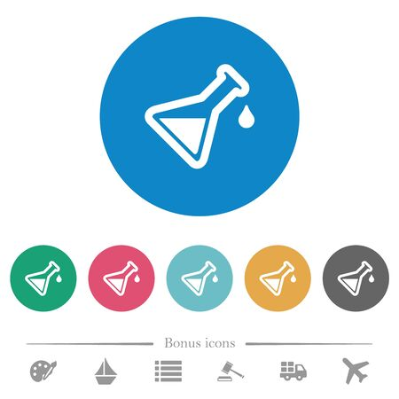 Experiment flat white icons on round color backgrounds. 6 bonus icons included.