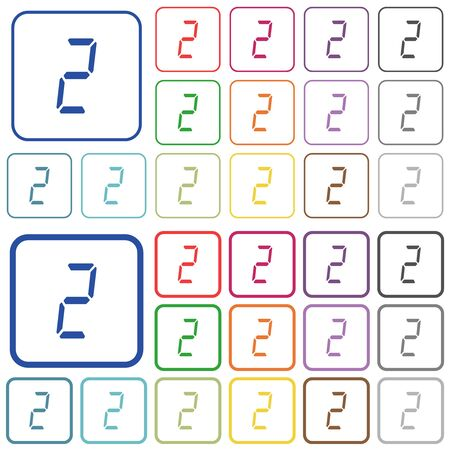 digital number two of seven segment type color flat icons in rounded square frames. Thin and thick versions included.