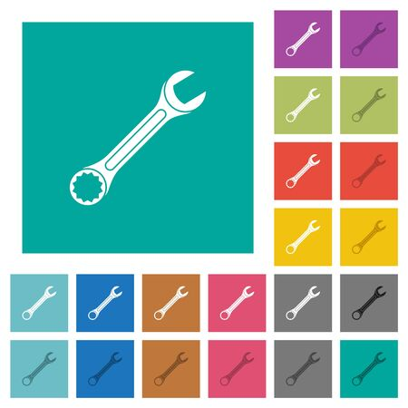 Single wrench multi colored flat icons on plain square backgrounds. Included white and darker icon variations for hover or active effects. Foto de archivo - 129806529