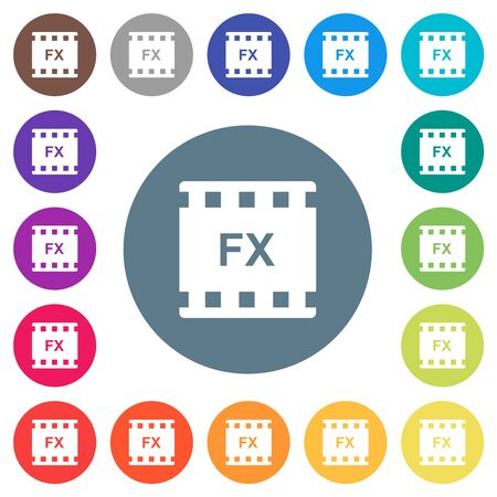Movie effects flat white icons on round color backgrounds. 17 background color variations are included.