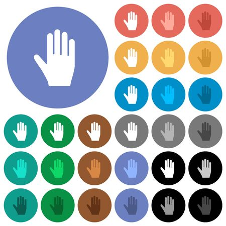 Right hand multi colored flat icons on round backgrounds. Included white, light and dark icon variations for hover and active status effects, and bonus shades.