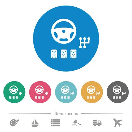 Car controls flat white icons on round color backgrounds. 6 bonus icons included.