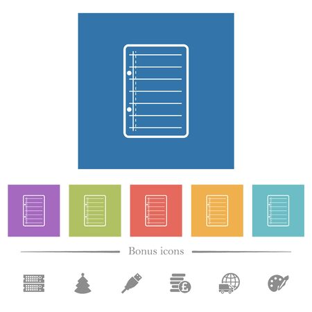 Scratch pad flat white icons in square backgrounds. 6 bonus icons included.
