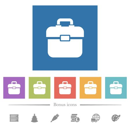 Toolbox flat white icons in square backgrounds. 6 bonus icons included. Stock fotó