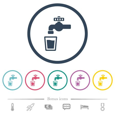 Drinking water flat color icons in round outlines. 6 bonus icons included.