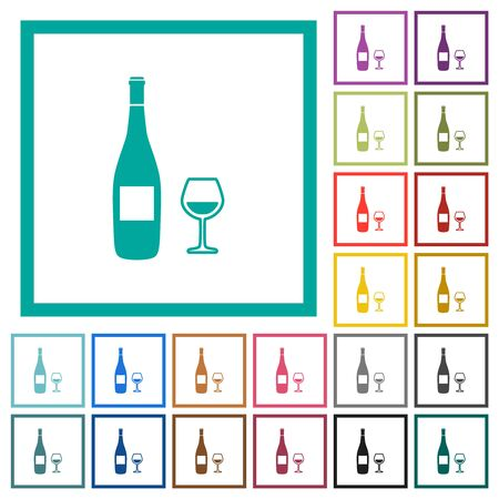 Wine bottle and glass flat color icons with quadrant frames on white background Stockfoto - 129806558