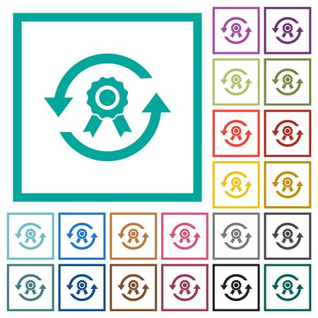 Renew certificate flat color icons with quadrant frames on white background Stock fotó