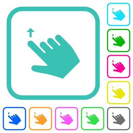 Right handed move up gesture vivid colored flat icons in curved borders on white background