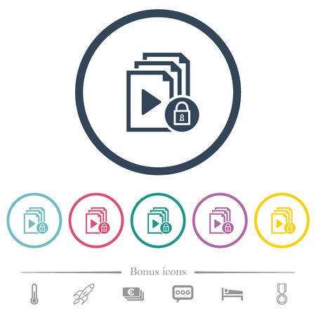 Lock playlist flat color icons in round outlines. 6 bonus icons included.