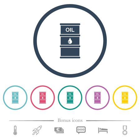 Oil barrel flat color icons in round outlines. 6 bonus icons included.