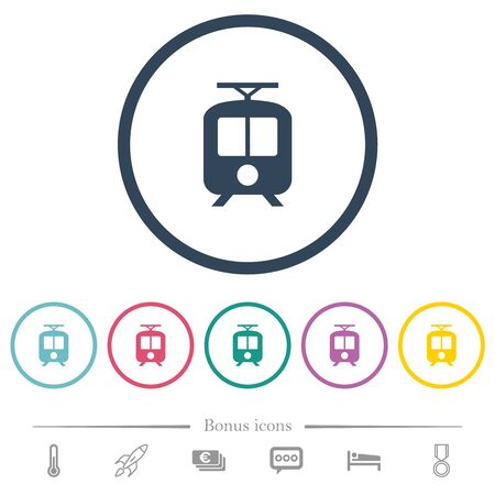 Tram flat color icons in round outlines. 6 bonus icons included.