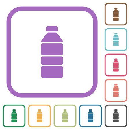 Water bottle simple icons in color rounded square frames on white background