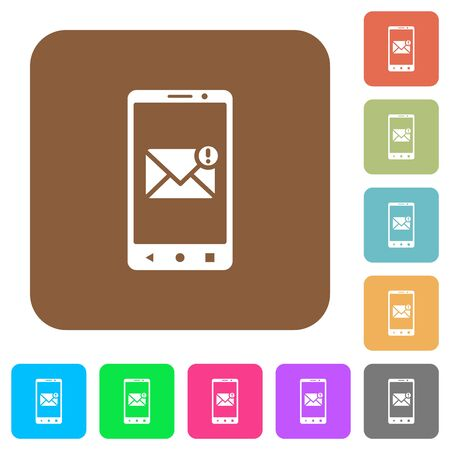 Smartphone incoming message flat icons on rounded square vivid color backgrounds. Imagens
