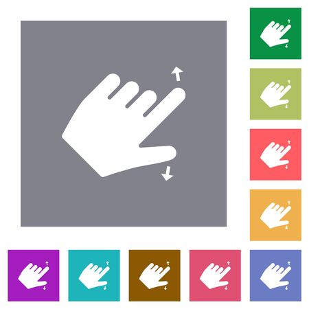 Left handed pinch open gesture flat icons on simple color square backgrounds Imagens