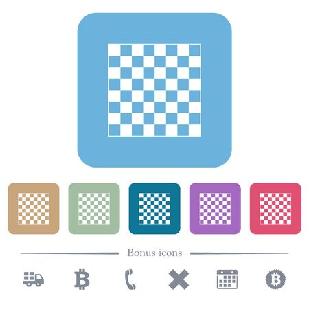 Chess board white flat icons on color rounded square backgrounds. 6 bonus icons included Stok Fotoğraf