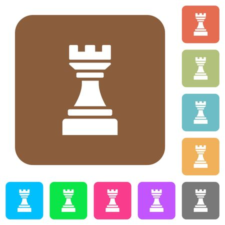 Black chess rook flat icons on rounded square vivid color backgrounds. Imagens