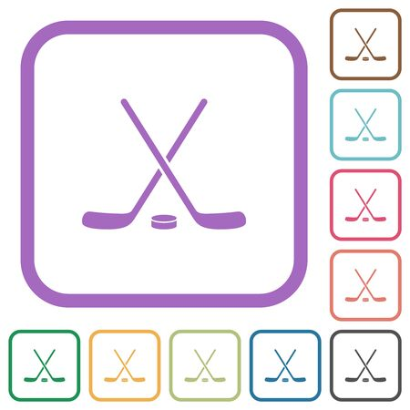Hockey sticks with puck simple icons in color rounded square frames on white background Imagens