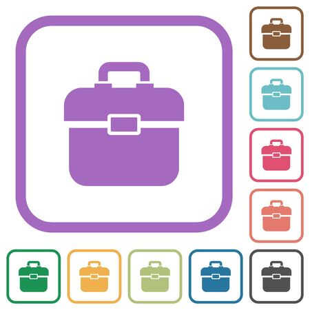 Toolbox simple icons in color rounded square frames on white background Imagens