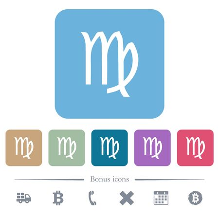 virgo zodiac symbol white flat icons on color rounded square backgrounds. 6 bonus icons included