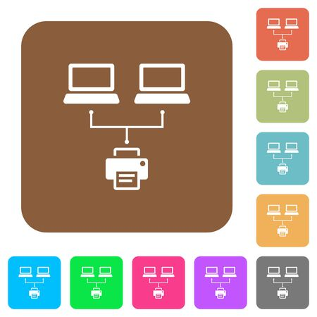 Network printing flat icons on rounded square vivid color backgrounds.