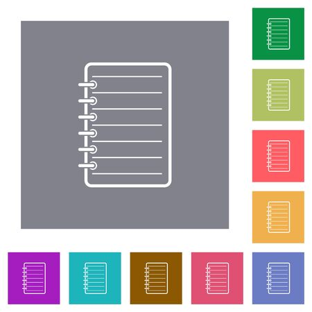 Notepad flat icons on simple color square backgrounds
