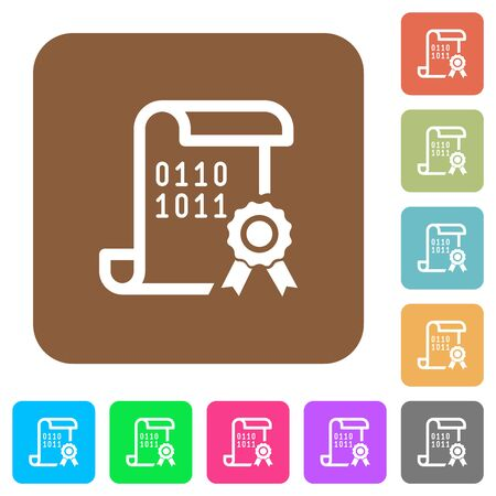 Digital certificate flat icons on rounded square vivid color backgrounds.