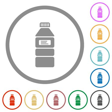 Water bottle with label flat color icons in round outlines on white background Imagens