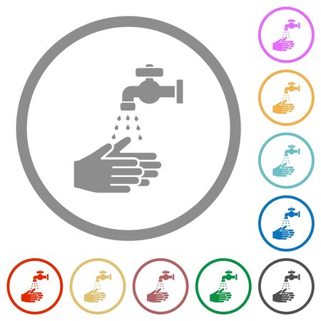 Hand washing flat color icons in round outlines on white background