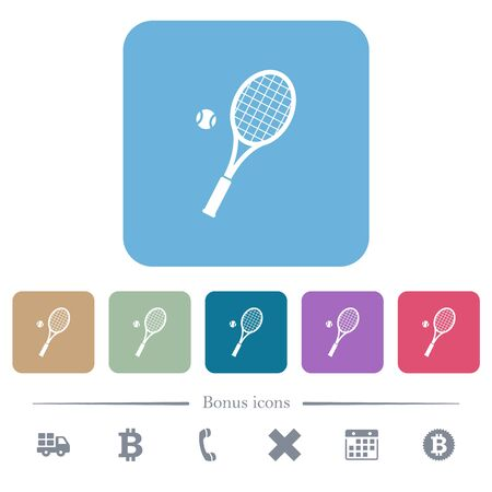 Tennis racket with ball white flat icons on color rounded square backgrounds. 6 bonus icons included