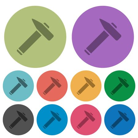 Old hammer darker flat icons on color round background Imagens