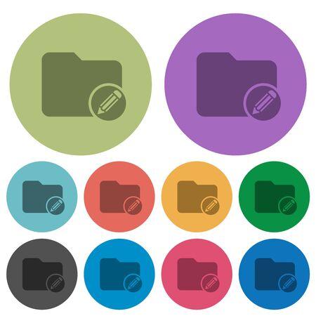 Modifier les icônes plates plus sombres du répertoire sur fond rond de couleur Banque d'images
